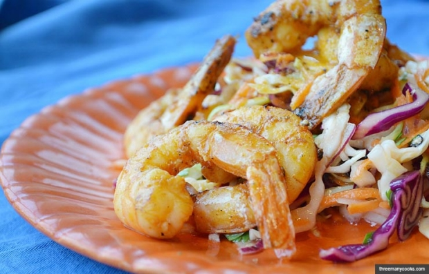Cumin-Seared Shrimp over Confetti Slaw