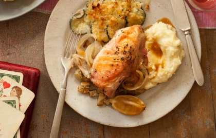 Ina Garten romantic meal, chicken and potato au gratin