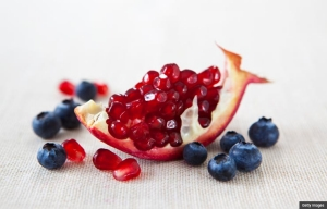 Fresh pomegranate and blueberries.