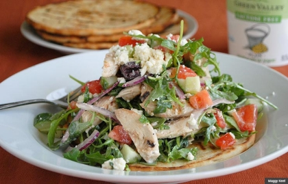 Chicken Souvlaki Salad is light dish made with yogurt. (Maggy Keet)