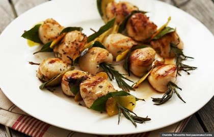 Grilled scallops on skewers, Healthy Memorial Day grilling (Charlotte Tolhurst/the food passionates/Corbis)