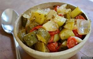 Receta de cazuela de tomate y calabacín
