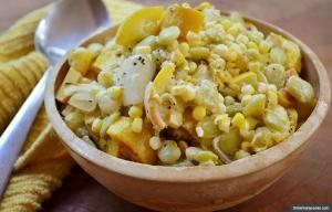 Yellow squash succotash casserole. (threemanycooks.com)