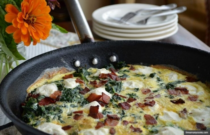 Swiss Chard and Ricotta Frittata with Bacon, Meat as a Flavoring Recipe by Pam Anderson (threemanycooks.com)