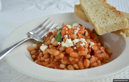 Garlicky White Bean and Tomato Stew with Shrimp, Meat as a Flavoring Recipe by Pam Anderson (threemanycooks.com)