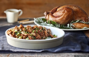 Turkey on Platter with Stuffing, Cookstr Regional Traditions Recipes (Getty Images/Radius Images)