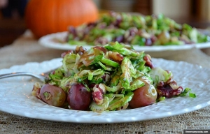 Shaved Brussels Sprout, Grape, and Walnut Salad, Thanksgiving recipes by Pam Anderson (threemanycooks.com)