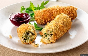 Turkey croquettes with rocket salad and cranberry sauce, Unique Recipes for Thanksgiving Leftovers (Getty Images)