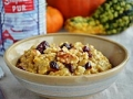 Pumpkin oatmeal with walnuts and dried cranberries. Dishes that are good for your skin. (Threemanycooks.com)