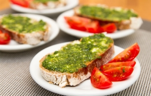 Pesto Crostini. Favorites from Jamie Oliver.
