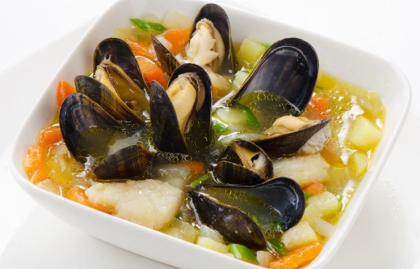 Mussel soup, Cookstr: Recipes for shrimp and scallops