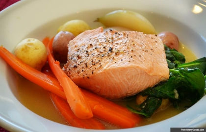Boiled Salmon with Spring Vegetables
