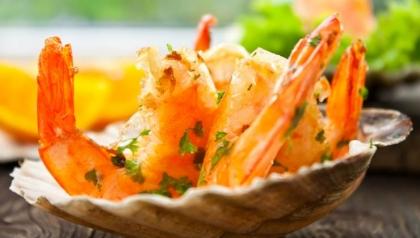 Receta de camarones con naranja y guayaba