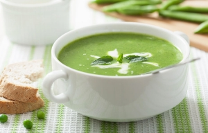 Pea soup with mint. Fresh pea recipes from Cookstr.