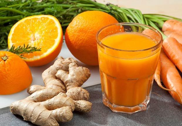 Jugo de naranja, zanahoria y jengibre - Recetas de jugos saludables de fruta fresca