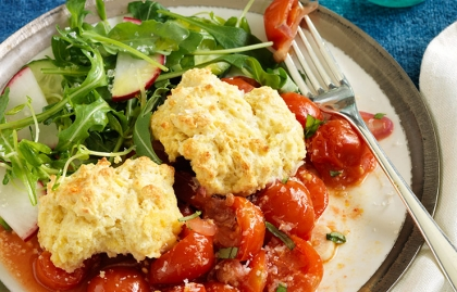 Cherry Tomato Cobbler and Salad
