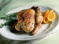 Cornish Game Hen with Rosemary, A Thankfully Small Dinner