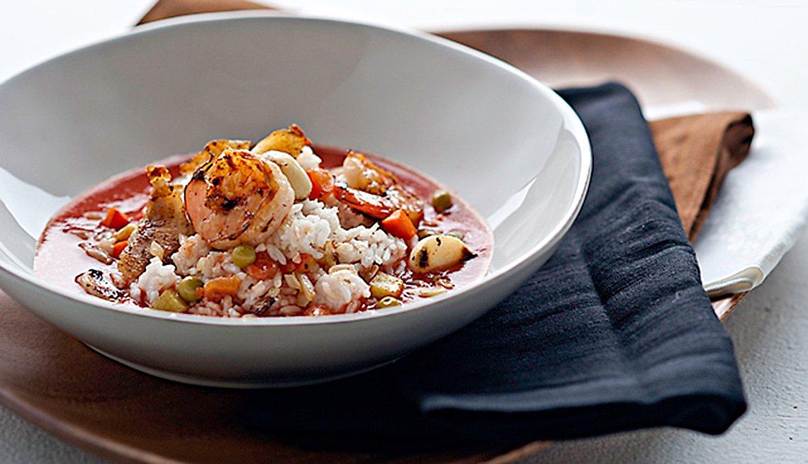 Bowl con camarones y arroz