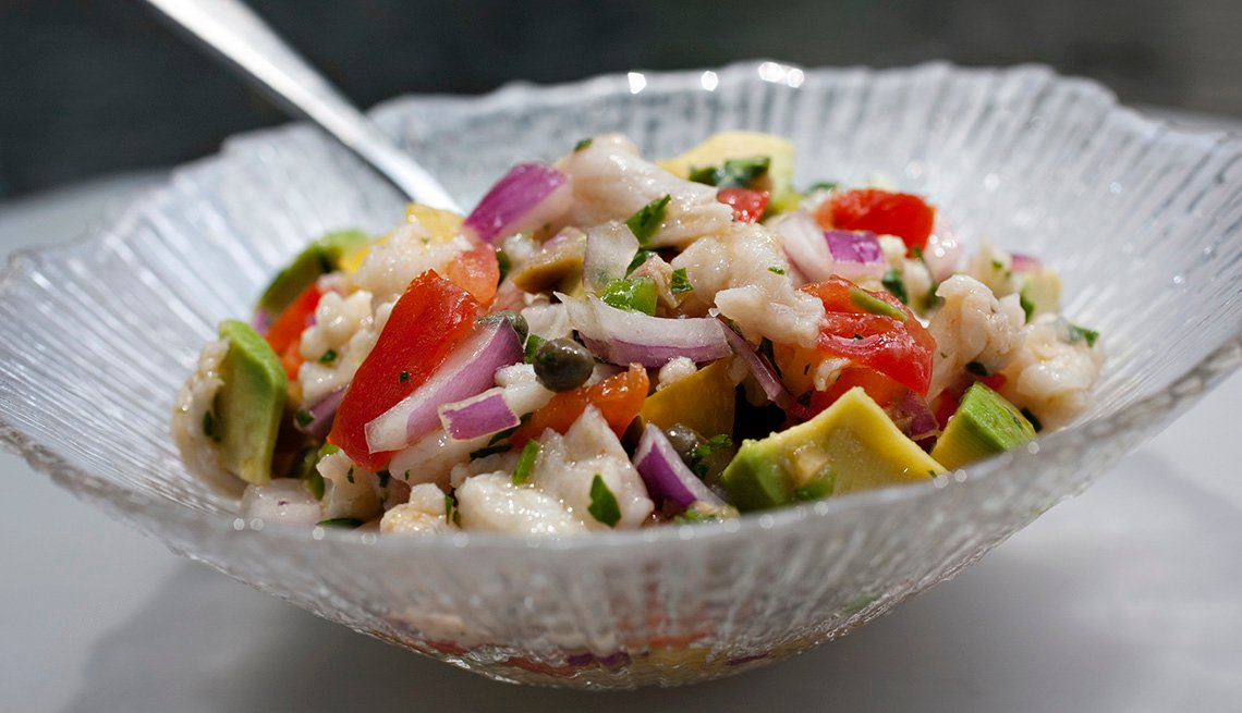 Tilapia Ceviche, Avocado, Onion, Tomato, Fish, AARP Food And Recipes, Healthy Fish Recipes