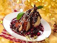 Peras bañadas en chocolate y almendras
