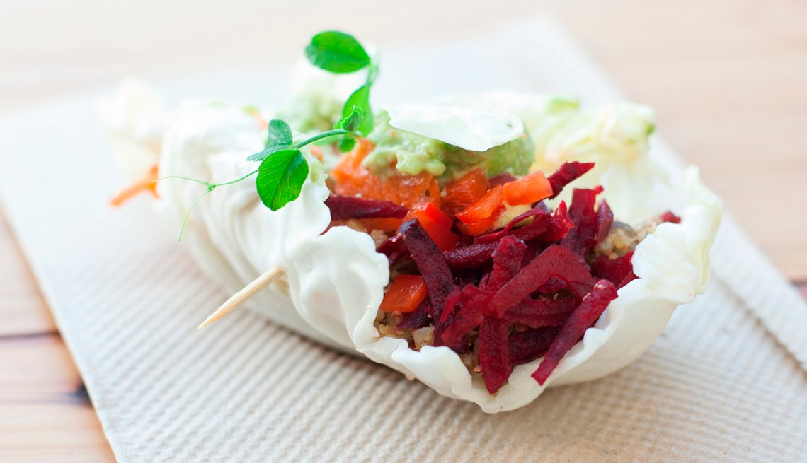 Vegetarian Taco Made Of Lettuce Wrapper Filled With Beets, AARP Food, Recipes, Vegetarian Taco Recipe