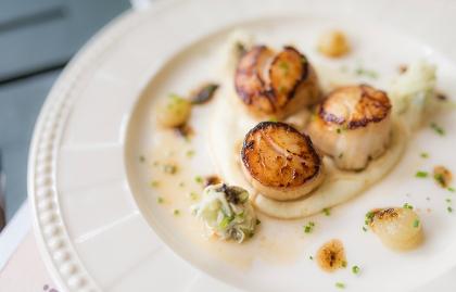 Vieras a la sartén sobre un puré de yautía sobre la mesa