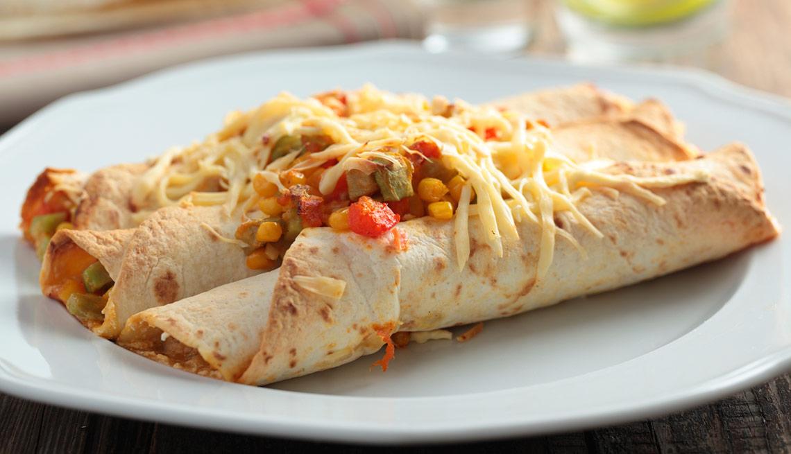 Enchiladas vegetarianas con tofu en salsa de chipotle