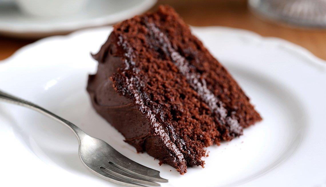 Trozo de torta de chocolate