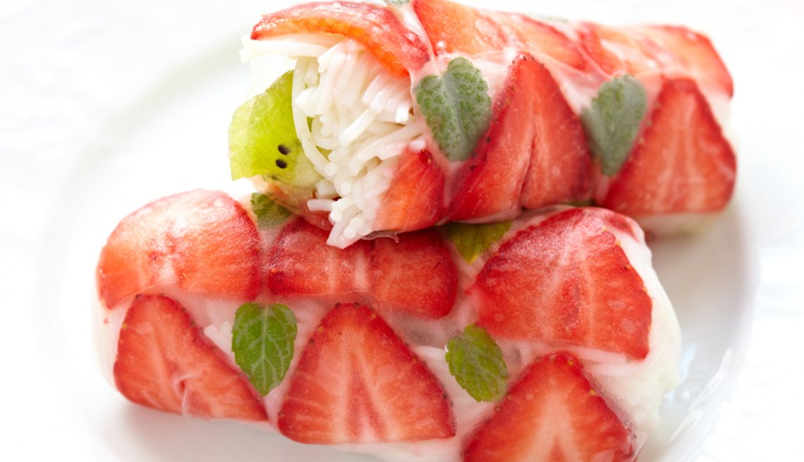 Rollos de kiwi y fresa