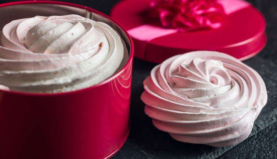 Merenguitos de agua de rosas y frambuesa