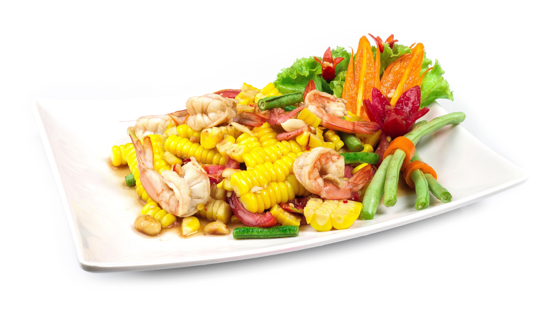 Vegetales  y camarones