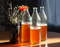 Three bottles of homemade cider on a table.