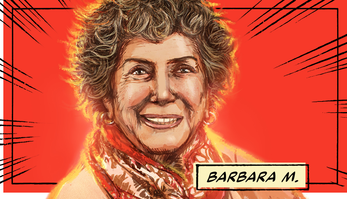 stylized image of Barbara M. on a red background