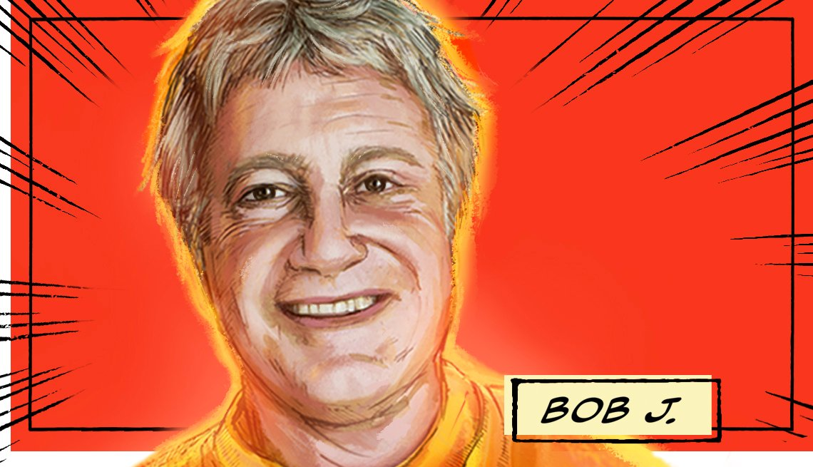 stylized image of Bob J. on a red background