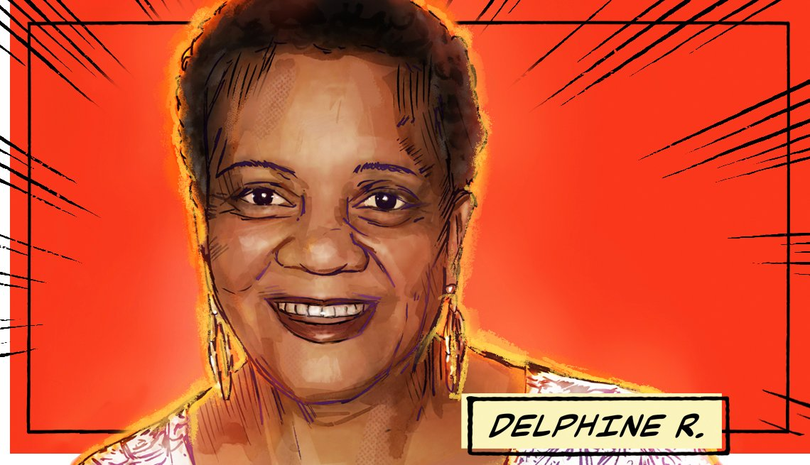 stylized image of Delphine R. on a red background