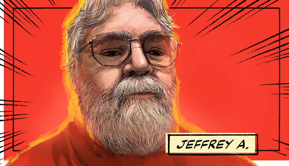 stylized image of Jeffrey A. on a red background