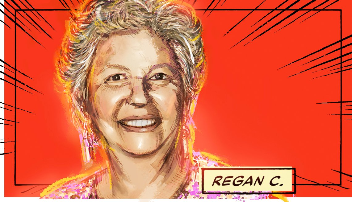 stylized image of Regan C. on a red background