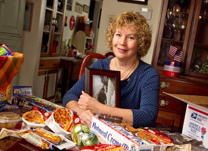 Cathy Cleaver at Home in Audubon, PA, putting together a care package for her son Evan. Shot on Thursday, November 04, 2010