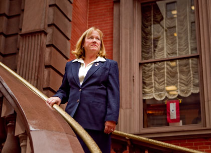 Marian Moran, Blue Star Mothers volunteer, photographed on November 4th on the steps of the Union League of Philadelphia.