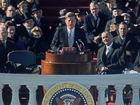Pres. John F. Kennedy (C) delivering his inaugural speech