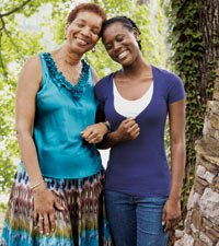Thema Harris with Tamika, a teen she guided