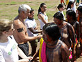 Volunteers greet the Brazilian Kayapo people-volunteer vacations