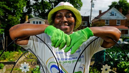 LaDonna Pope at the Walnut Hills community garden in Ohio, sponsored by AARP.