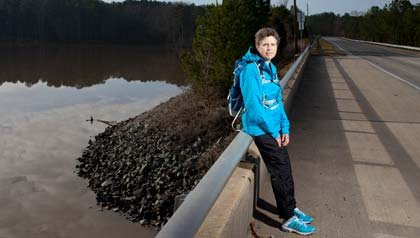 Teri Swezey, of Carrboro, hopes to heighten awareness of caregiving issues by walking 3,000 miles.