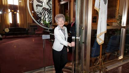 Amelia Paschedag, has been a volunteer lobbyist for AARP for 20 years and is well known around the state Capitol and the governor�s office.