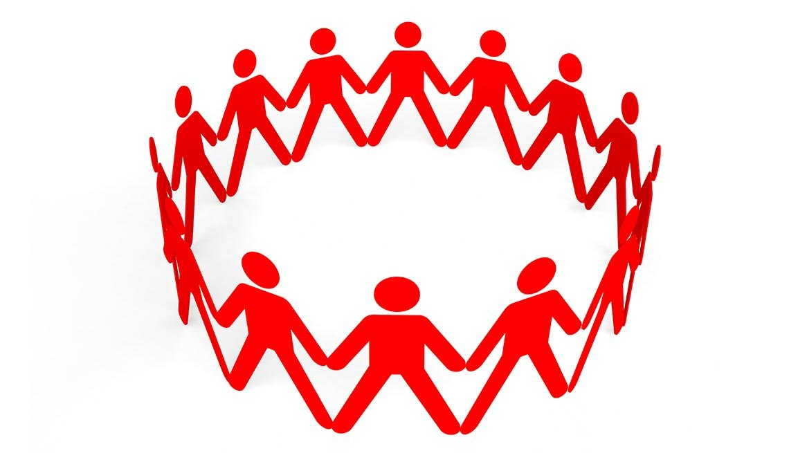 Ilustración de gente tomada de las manos formando un circulo.