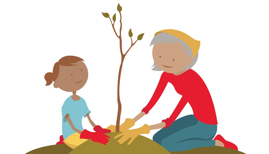 Illustration of people planting a tree, Giving Back Volunteer Wizard