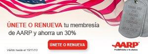 Únete o Renueva tu membresía de AARP y ahorra un 30%