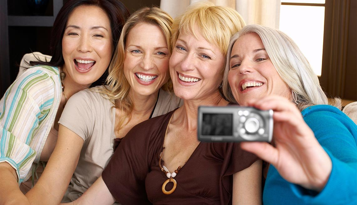 Women taking a picture of themselves, Socializing for Brain Heal