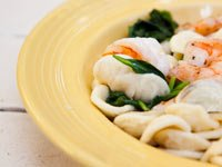 Orecchiette with Spinach, Shrimp and Garlic Chips, Think Food Recipes for Brain Fitness